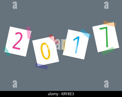 Colorful tapes and 2017 post its - Stock Photo