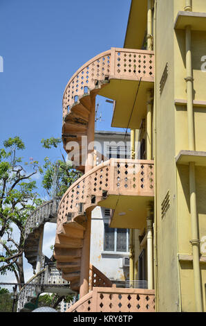 Colorful spiral staircases - Stock Photo