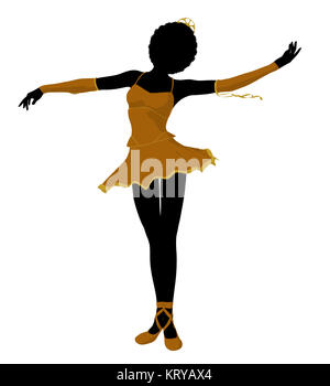 African american ballerina silhouette on a white background - Stock Photo