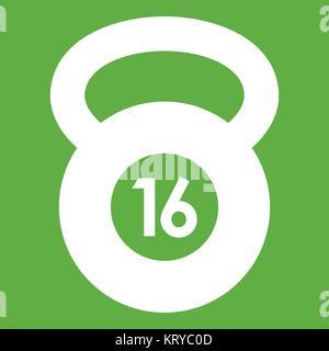 Kettlebell icon green - Stock Photo