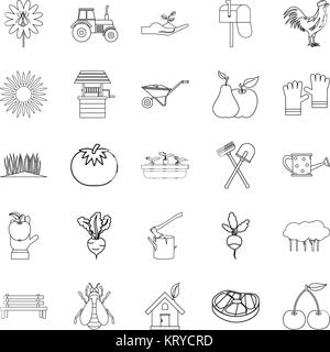Hamlet icons set, outline style - Stock Photo