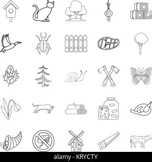 Settlement icons set, outline style - Stock Photo