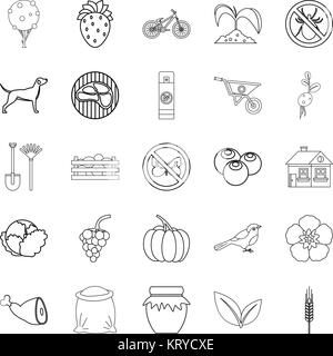 Colony icons set, outline style - Stock Photo