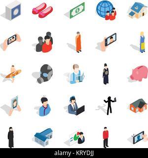Pair icons set, isometric style - Stock Photo