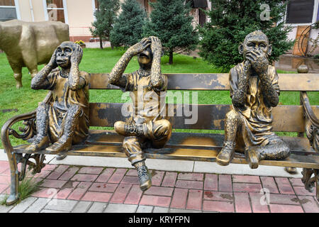 Irkutsk, Russia- Aug 14, 2017: Sculpture of the three monkeys See Nothing, hear nothing, say nothing in the park - Stock Photo
