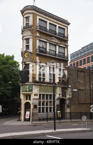 LONDON, UK - JUNE 18, 2013: wedge-shaped art nouveau building of the Black Friar Pub on Queen Victoria Street in - Stock Photo