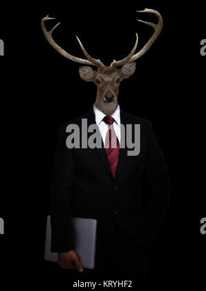 business man with animal head - Stock Photo