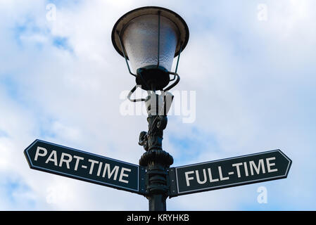 Part-Time versus Full-Time directional signs on guidepost - Stock Photo