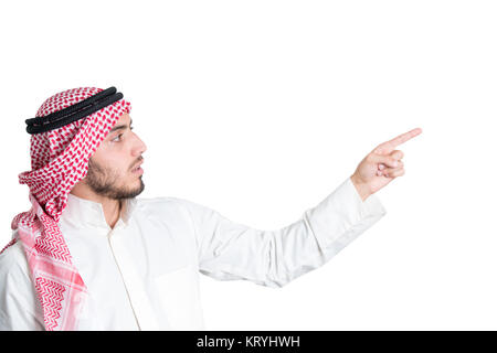 Young arab pointing. concept, isolated - Stock Photo