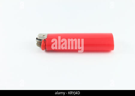 Red Cigarette Lighter isolated on white background - Stock Photo