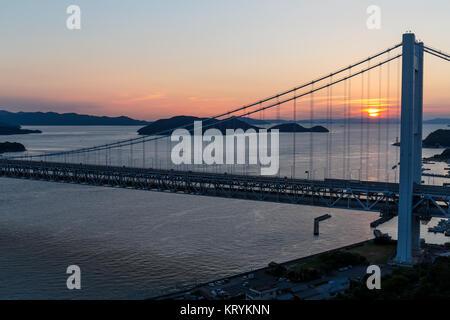 Great Seto Bridge during sunset - Stock Photo