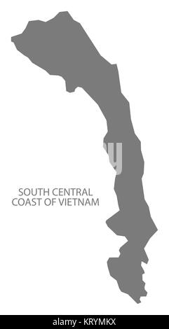 South Central Coast Vietnam Map grey - Stock Photo