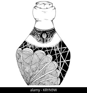 Decorative bottles hand-drawn, in zentangl style. Vector graphics. Black and white. - Stock Photo