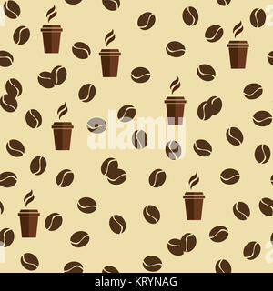 Tea or coffee cups seamless vector pattern with coffee beans or corns. - Stock Photo