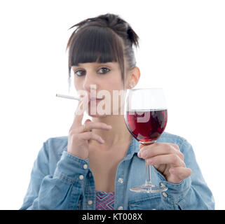 girl with a glass of red wine and a cigarette - Stock Photo