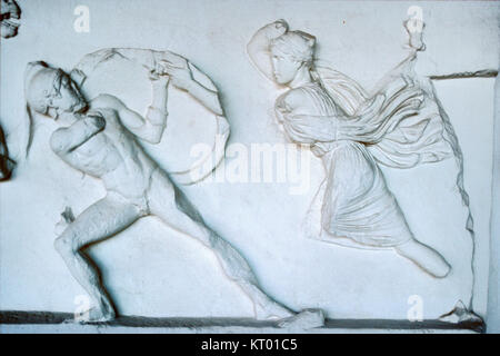 Amazon Frieze or Amazonomachy, Showing Battle Between Greeks and Amazons (353-350 BC) from the Mausoleum at Halicarnassus - Stock Photo