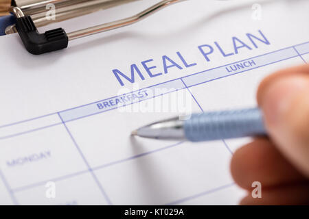 Person Hand Filling Meal Plan Form - Stock Photo