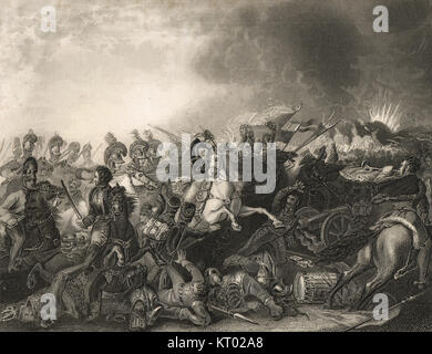 Decisive charge of the Life Guards, Battle of Waterloo, 18 June 1815 - Stock Photo