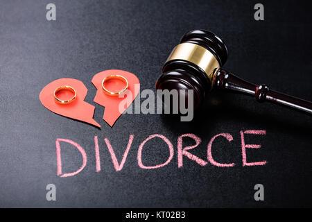 Close-up Of Divorce Concept On Blackboard - Stock Photo