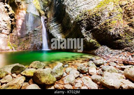 Beautiful Kozjak waterfall,Slovenia - Stock Photo