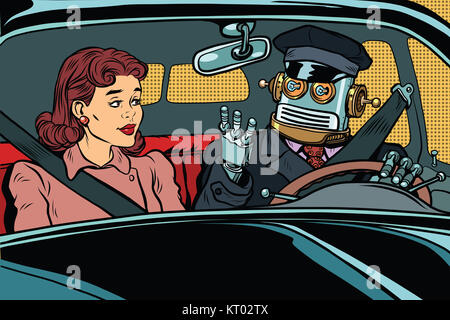 Vintage retro robot autopilot car, woman passenger in unmanned v - Stock Photo