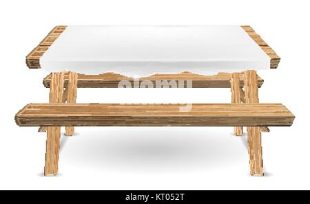 wood picnic table with white tablecloth vector - Stock Photo