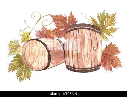 Wooden barrels and leaves of grapes, isolated on white. Hand drawn watercolor illustration. - Stock Photo