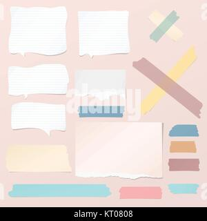White ripped blank, colorful note, notebook paper strips, sheets, speech bubble, sticky tape for text or message - Stock Photo