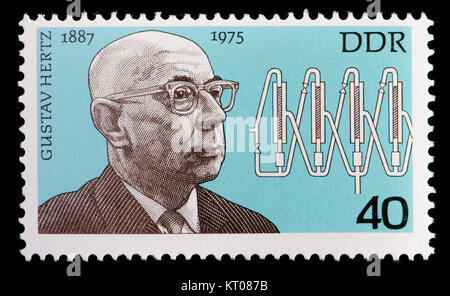 East German (DDR) postage stamp (1977): Gustav Ludwig Hertz (1887 – 1975) German experimental physicist and Nobel - Stock Photo