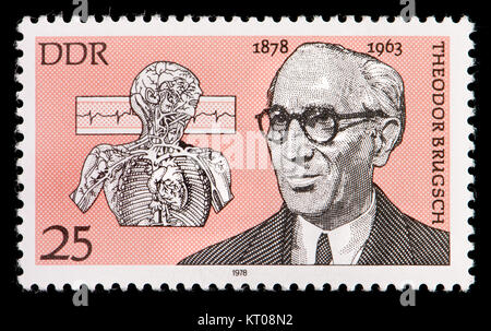 East German (DDR) postage stamp (1978): Theodor Brugsch (1878 – 1963) German internist and politician. - Stock Photo