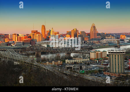 A View of the Cincinnati skyline at twilight - Stock Photo