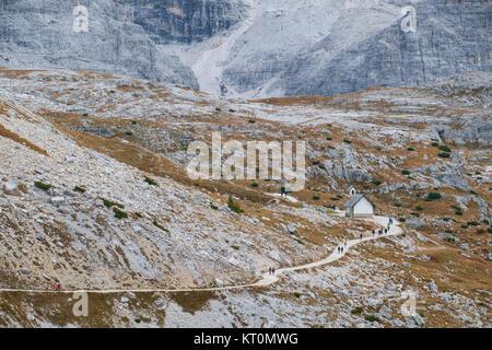 Mountain chapel near Tre Cime di Lavaredo in Dolomites - Stock Photo