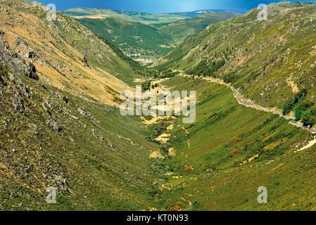 View to glacial valley Vale do Zézere in Nature Park Serra da Estrela - Stock Photo