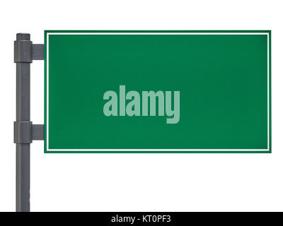 Blank green traffic road sign on white. 3D rendering - Stock Photo