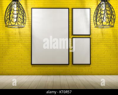 White mock up frame, modern background. 3D rendering - Stock Photo