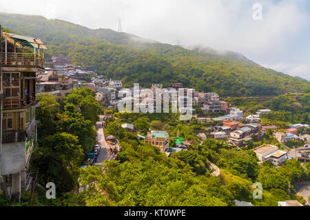 View of Jiufen or Jioufen, a small town  in the Ruifang District, New Taipei, Taiwan. It served as inspiration for - Stock Photo