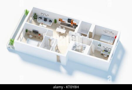 Furnished home apartment 3d render - Stock Photo