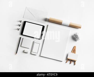 Set of blank stationery elements on paper background. Branding template. Photo of blank stationery. Mock-up for - Stock Photo