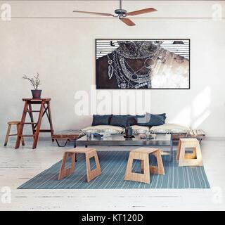 Modern design  living room interior. 3d rendering concept - Stock Photo