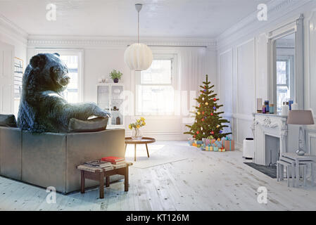 The bear relaxing in the christmas celebration decorated room on the sofa. Creative illustration. Photo and CG elements - Stock Photo