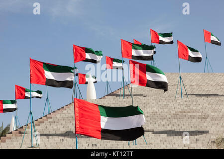 uae flags in mezairaa - Stock Photo