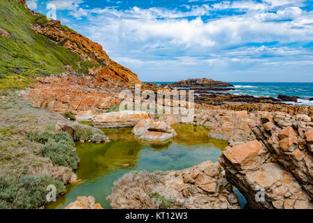 Tremendous Robbberg nature reserve coastline at Plettenberg bay South Africa. The foreground shows a picturesque - Stock Photo
