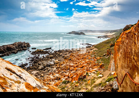 Tremendous Robbberg nature reserve coastline at Plettenberg bay South Africa. The photo shows a part of the loop - Stock Photo