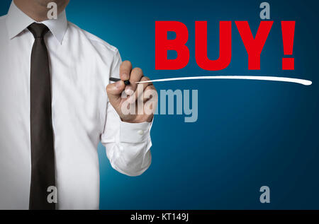 buy is written by businessman background concept - Stock Photo