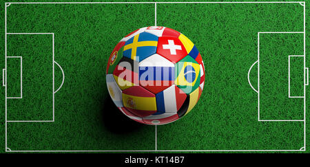 Soccer football ball with world teams flags on green field background. 3d illustration - Stock Photo