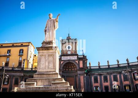 Statue of Dante Alighieri in Piazza Dante. Naples, Italy. - Stock Photo