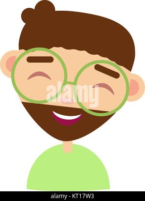 Faces Avatar Portrait young boy with glasses Vector cartoon style - Stock Photo