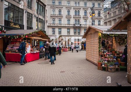 Christmas market in Budapest at Vörösmarty Square - Stock Photo