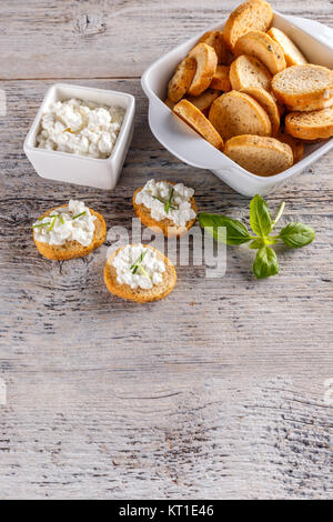 Cottage cheese with whole wheat rolls - Stock Photo