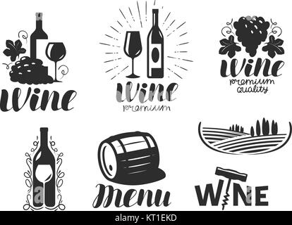 Wine, winery logo. Drink, alcoholic beverage symbol or icon. Lettering vector illustration - Stock Photo